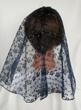 NAVY BLUE/GOLD LACE VEIL MANTILLA SCARF HEADCOVER MASS LATIN CHURCH CATHOLIC 161