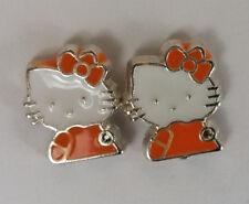 CRYSTAL COLLECTION HELLO KITTY Stud Pierced Earring Set silver coat Orange