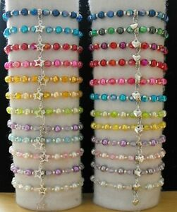 WHOLESALE CHILDRENS 12 BEADED STAR OR HEART BRACELETS,PARTY BAGS,GIFTS,JOBLOT