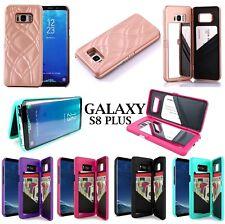 Samsung GALAXY S8+ PLUS -Hidden Built-in Mirror Wallet Case Stand w/ Card Holder
