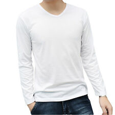 Casual Men's V-Neck Long Sleeve Slim Fit Muscle Cotton Lycra Casual T-Shirt Tops