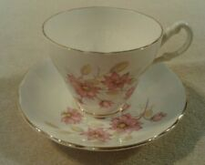 "Vintage ""Royal Ascot"" pink floral bouquet trimmed in gold cup & saucer set Mint"