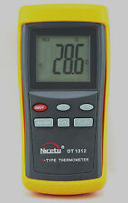 Digital K-type Thermometer HVAC w. 2 Thermocouple Wire Probes Science LCD DT1312