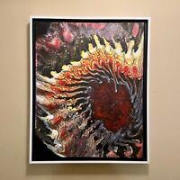 Dragon Eye   Red Yellow & Black Abstract original acrylic painting   ships free