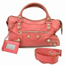 Authentic Balenciaga The Giant City Leather 2way Shoulder Satchel Hand Bag Pink