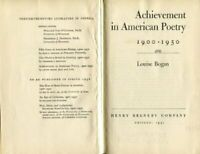 Achievement in American poetry, 1900-1950