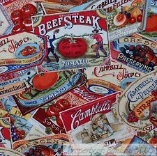 BonEful Fabric FQ Cotton Quilt Campbell*s Soup Gold Label Kitchen Red Tomato VTG