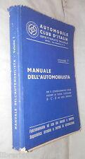 MANUALE DELL AUTOMOBILISTA Volume Primo Ispettorato Scuole ACI 1965 Manuale di