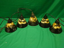 LOT OF 5 Vintage GLASS TRACK LIGHTS UNIQUE PAINT DESIGN SHADE STYLE LIGHTS