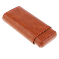Brown Leather Spanish Cedar Lined 3 Tube Cigar Case Humidor for Men -7inch