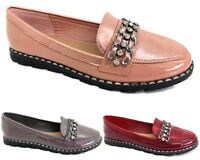 LADY WOMEN SMART SLIP-ON LOAFERS CASUAL WORK PATENT COMFY FLAT SHOES SIZES 3-8