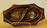 Vintage Redware Brown Divided Bowl Japan Hand Painted Flower Floral Relish Dish