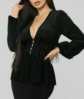 Smocked Stretchy V Neck Peplum Long Sleeves Sexy Black Velvet Top Party Small S