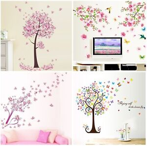 Pink Flower Butterfly Blossom Tree Girl Wall Stickers for Room Decoration