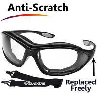 SAFEYEAR Safety Goggles Work Glasses w' Strap Anti Fog UV Scratch Resistant Z87+