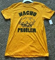 NWT Mens Yellow Mad Engine Nacho Problem Short Sleeve Top T-Shirt Large
