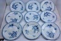 FLEUR BLUE Floral Porcelain Plate FRANCE Antique Soup Bowl Bread Butter ART LOT