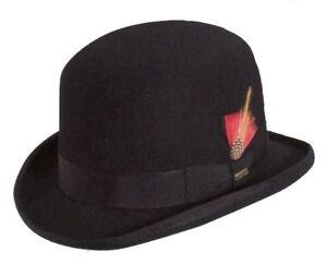 "Derby Hat Irish Bowler Wool Felt Satin Lined ""Avenger"" Size M L Black WF506"