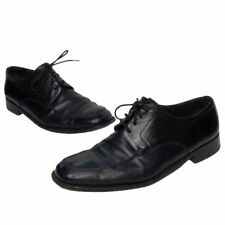 Bally Mens Oxfords Black Leather Lace Up Toe Stitching Dress Shoes Italy 10.5