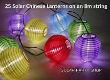 Chinese Lanterns Multicolour Solar 2x8m strings Warm White LEDs Outdoor Lights