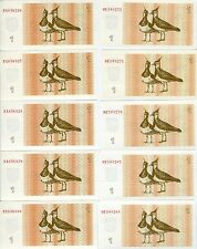 LOT Lithuania, 10 x 1 Talona 1992, P-39, EX-USSR, UNC > Lapwings