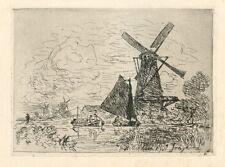 """J. B. Jongkind """"Moulins en Hollande"""" etching"""
