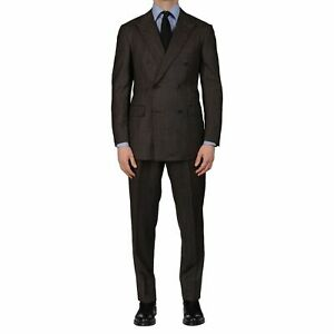 D'AVENZA Roma Handmade Brown Striped Wool Flannel DB Suit EU 50 NEW US 40