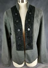Maurices Womens Size 1 Black Open Front Lace Buttons Career Jacket