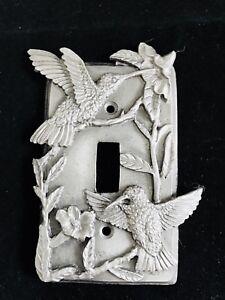 PEWTER SILVER HUMMINGBIRD KIDS ROOM GARDEN ATRIUM LIGHT SWITCH PLATE COVER