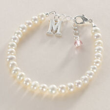 Birthstone Bracelet with Letter Charm & Real Freshwater Pearls, Gift Boxed