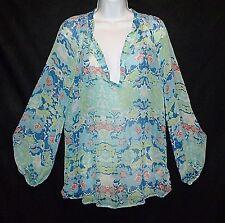 ELLA MOSS x Pea Pod Maternity 100% silk chiffon floral print boho blouse top L