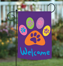 Toland Welcome Paws Purple 12.5 x 18 Dog Cat Double Sided Garden Flag