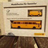 Brekina Post Serie 12 VW Bus T2 und Magirus 150 LS Deutsche Bundespost in OVP