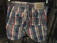 Cute!! Little Boy's Size 12 Months Levi's Shorts Adjustable Waste Blue Plaid