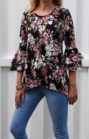 Lovemood Asymmetrical Floral Blouse Top - Bell Sleeve - Black - Size S M L XL