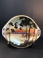 "Antique Hand-Painted M Nippon 8"" China Porcelain Bowl Tree House Lake Scene"