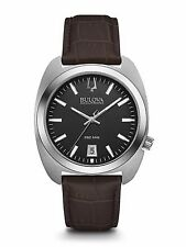 Bulova 96B253 Mens Accutron II UHF StainlessSteel Black Dial Brown Leather Watch