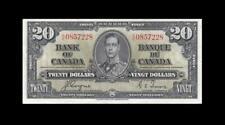 1937 BANK OF CANADA KGVI $20 **Coyne & Towers** (( EF+ ))