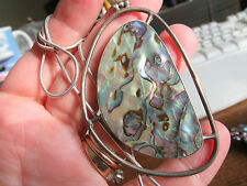 Vintage large Paua / Mother of pearl pendant in silver mount on silver chain.