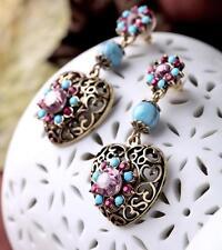 Betsey Johnson Rhinestone Heart Stud Earrings Best Gift Sweet Women Jewelry N432