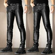 Mens Motorcycle faux Leather Leisure Trousers Skinny Slim Fit Casual Punk Pants
