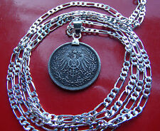 Antique German Silver Eagle 1/2 Mark Pendant on  a 925 Sterling Silver Chain