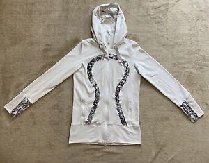 Lululemon Stride Jacket Size 8 Women White Black Zip Up Hooded