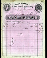 """PARIS (II°) RIDEAUX GUIPURES TISSUS pour MEUBLES """"ESTRAGNAT & A. SUSSE"""" en 1881"""