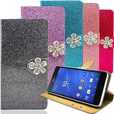 Glitzer Book Style Handy Tasche für Sony Xperia Schutz Hülle Strass Etui Wallet