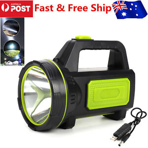 LED Searchlight Rechargeable Handheld Flashlight Torch Camping Hiking Light Lamp