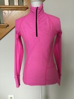 Women's Champion Semi-Fitted Long Sleeve 1/4 Zip Shirt, SZ XS Pink Thumbholes