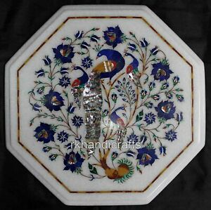 14 Inches Marble Coffee Table Top Inlay Work Corner Table with Peacock Pattern