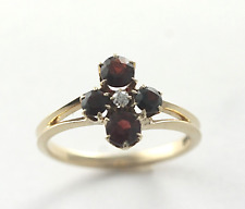 Vintage Victorian Bohemian Garnet & Diamond Ring 14k Yellow Gold Size 7