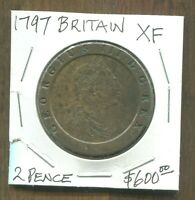 GREAT BRITAIN - FANTASTIC HISTORICAL GEORGE III COPPER TWO PENCE, 1797, KM# 619